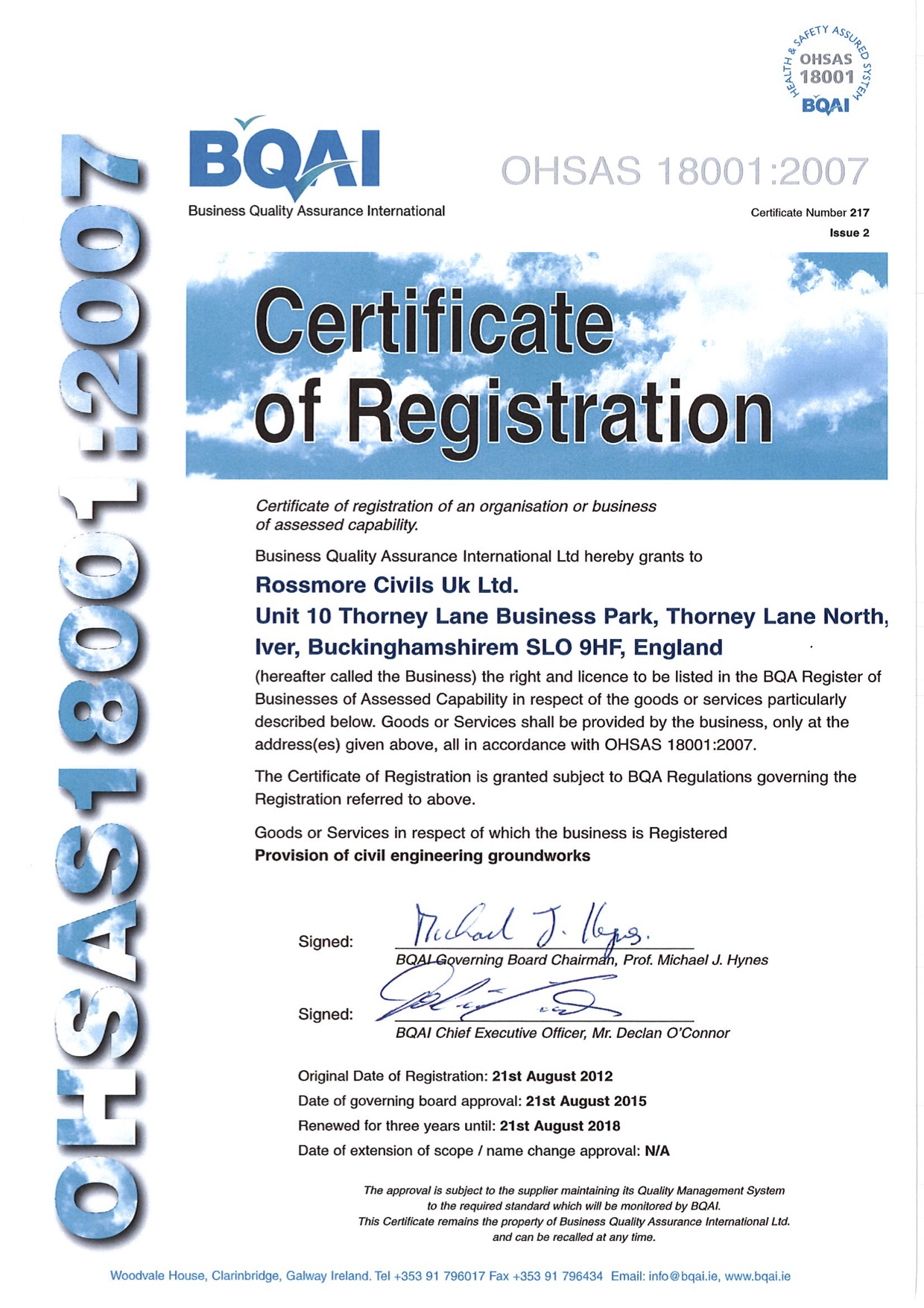 howley contracts rossmore civils uk ireland ohsas 18001 cert